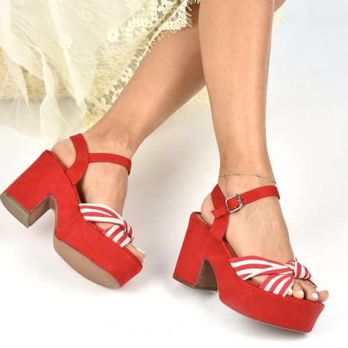 SANDALE RED WHITE SUEDE 8SPS0292